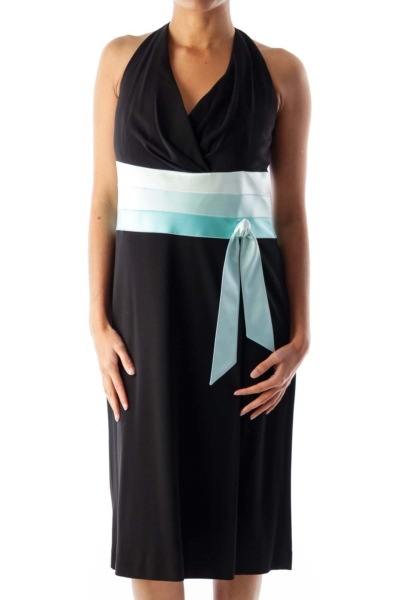 Black & Blue Color Block Dress