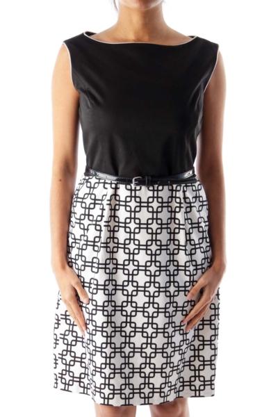 Black & Beige Belted Dress