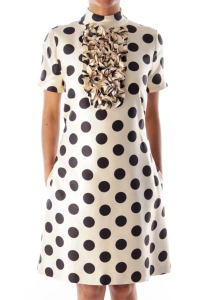 Beige Polka Dot Shift Dress