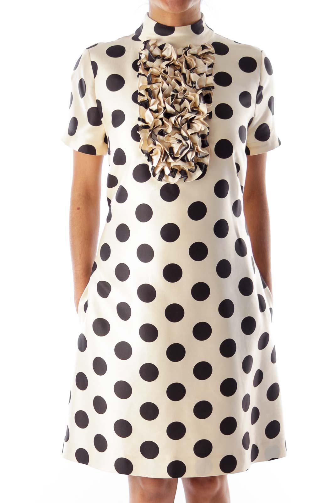 Beige Polka Dot Shift Dress [8] - SilkRoll