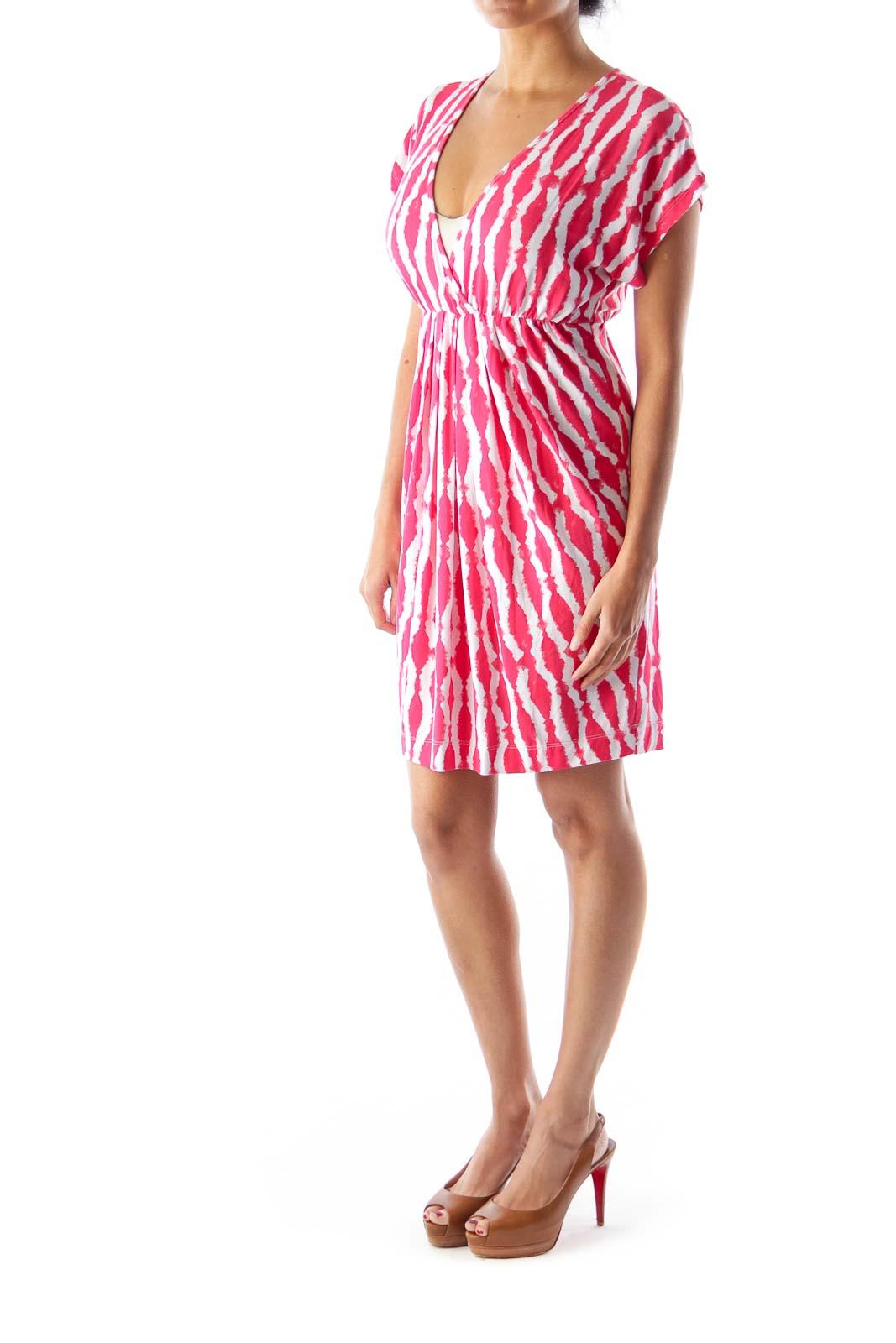 Red Print Elastic Dress