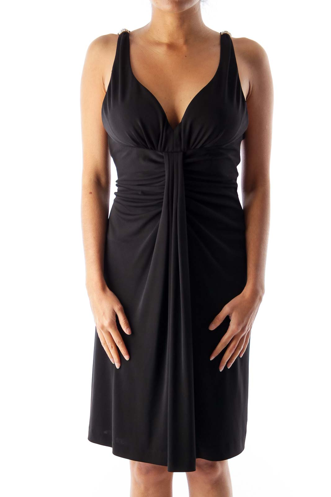 Black Shoulder Rhinestone Dress