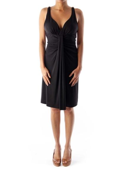 Black Shoulder Rhinestone Dress