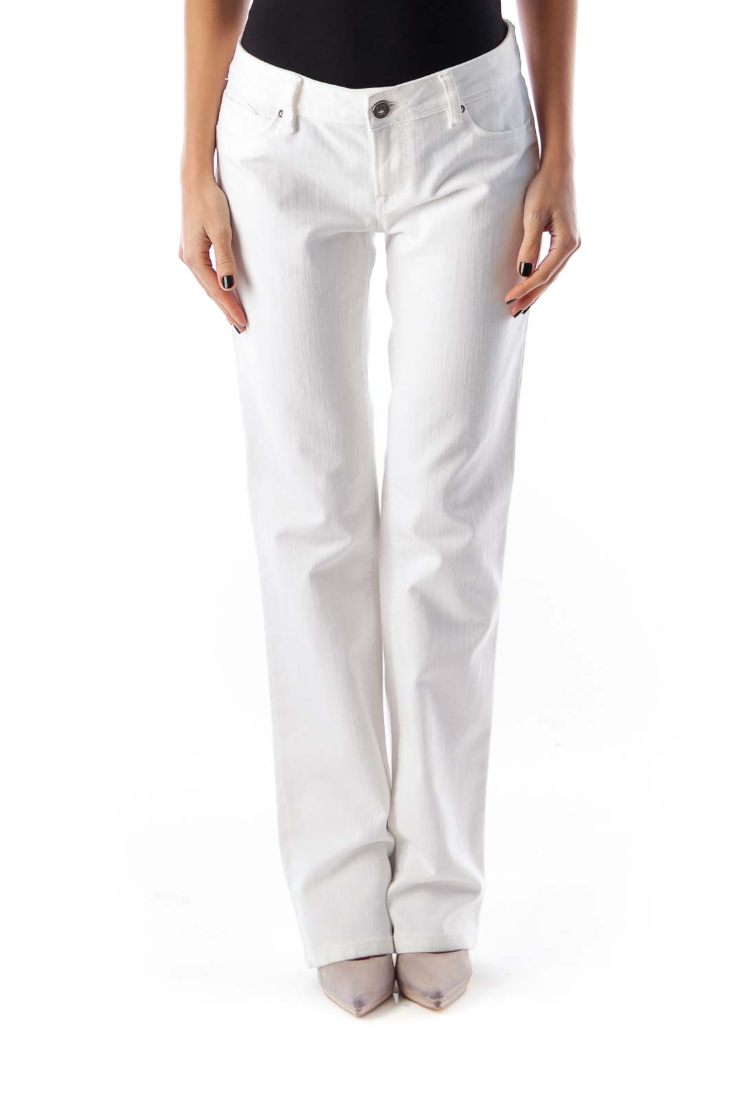 White Flare Slim Jeans