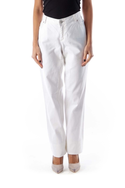 White Straight Legs Jeans