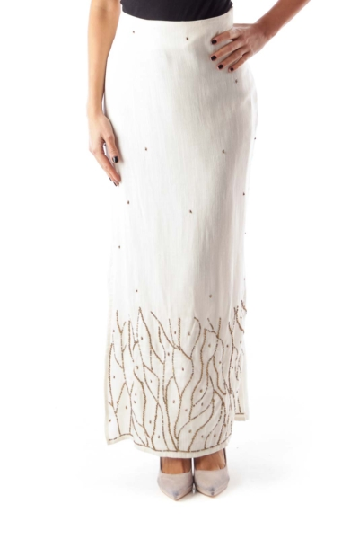 Beige Long Beaded Skirt