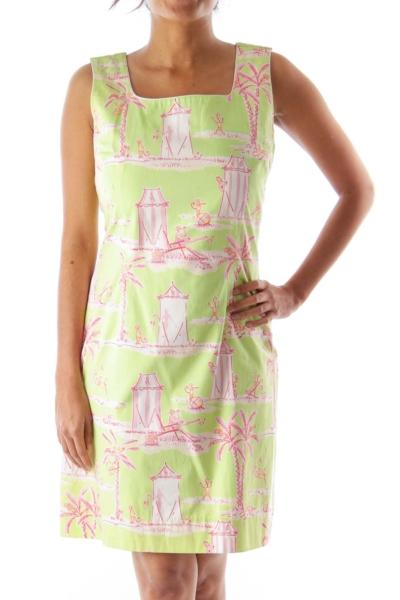 Green Palm Print Dress