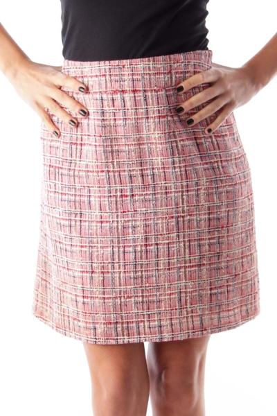 Red Plaid Tweed Skirt