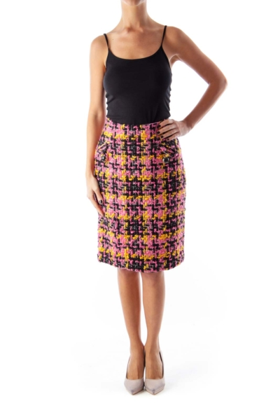 Color Tweed Midi Skirt