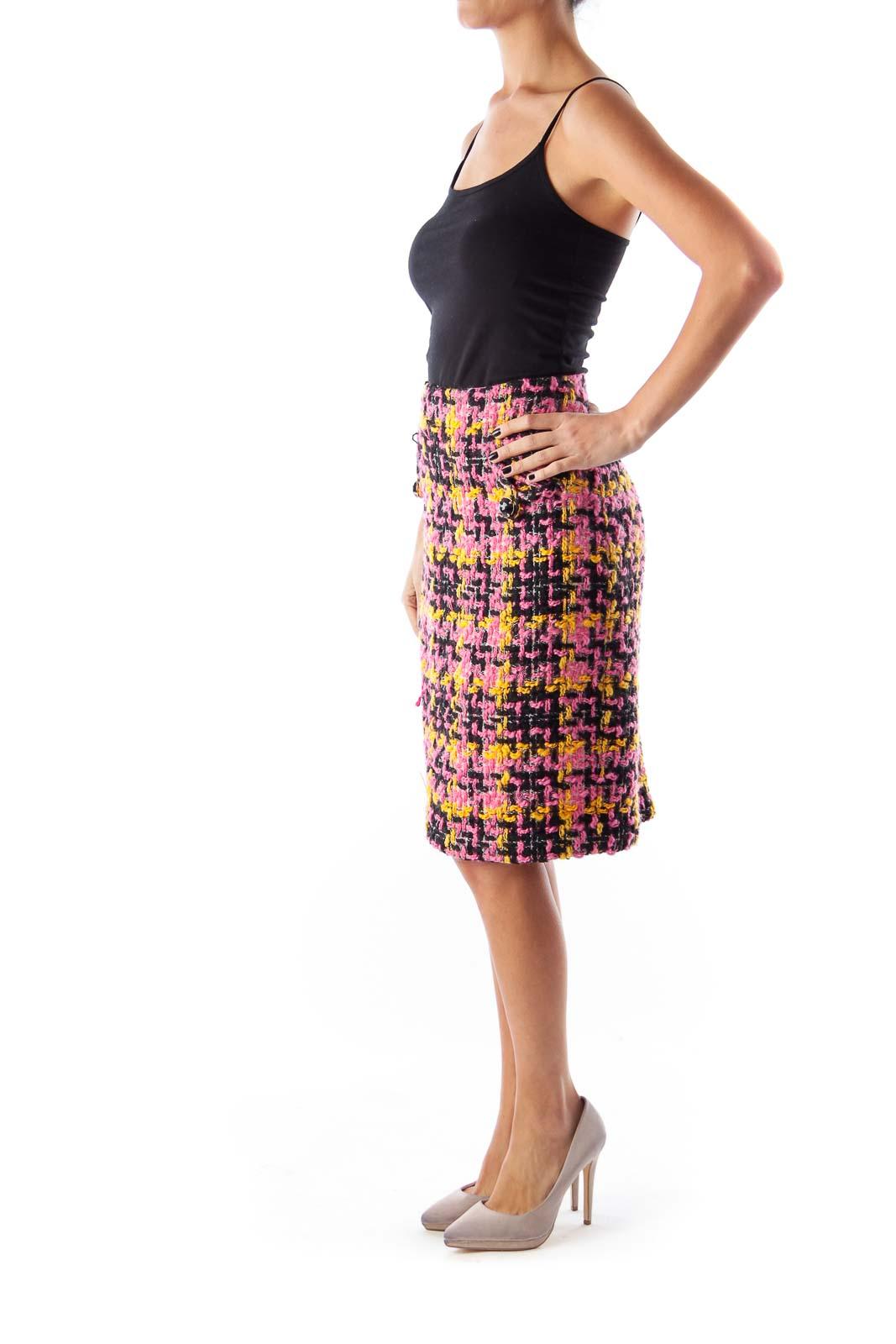 Color Tweed Midi Skirt