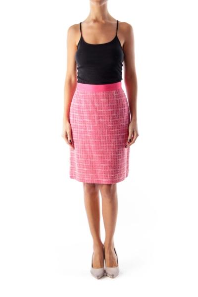 Pink Plaid Tweed Skirt