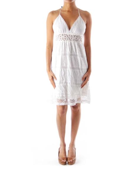 White Lace Layered Dress
