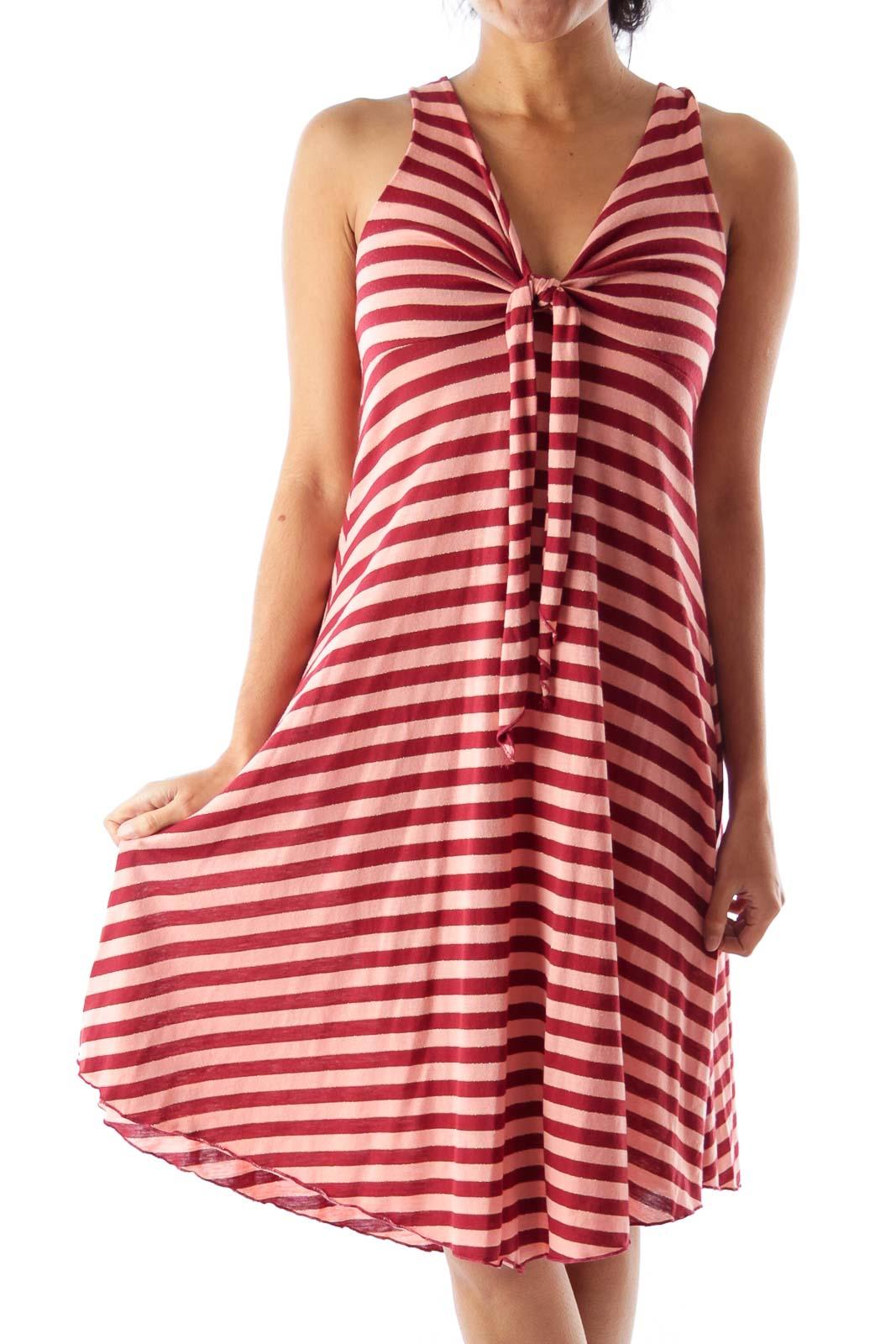Burgundy  Stripe Dress