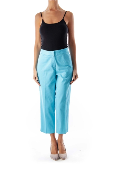 Blue Stretch Ankle Pants