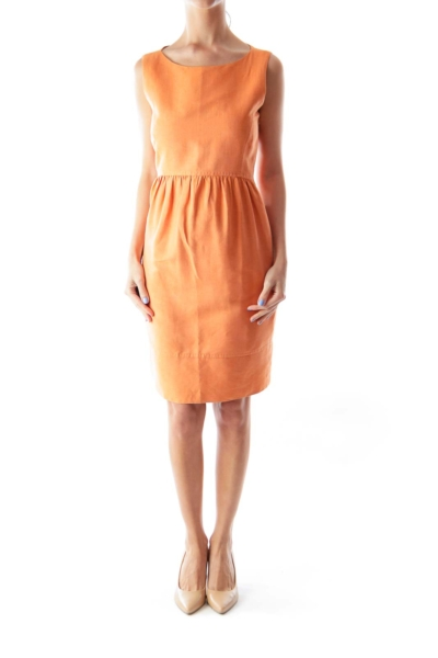 Orange Fit & Flare Dress