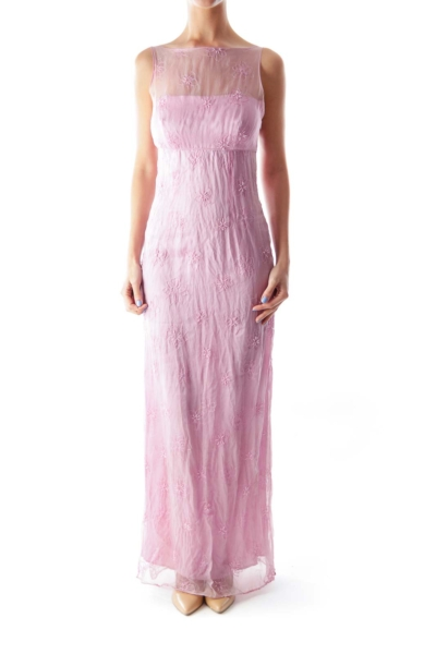 Pink Embroider Maxi Dress