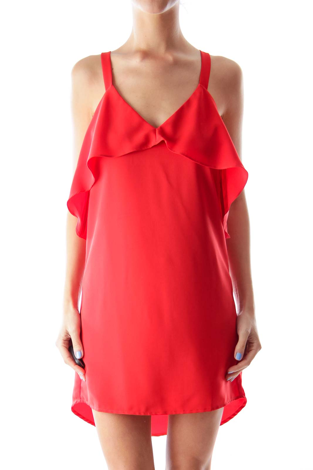 Red Edge Frill Dress