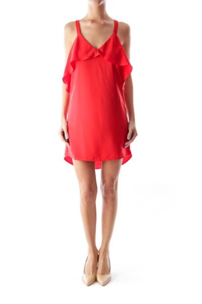 Red Edge Frill Dress