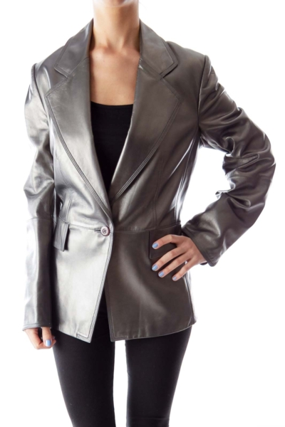 Silver Metallic Leather Jacket