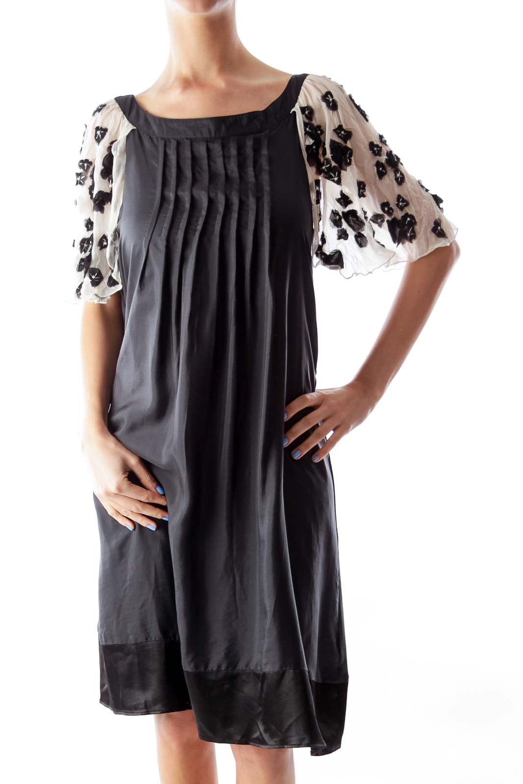 Black & Beige Cap Sleeve Dress