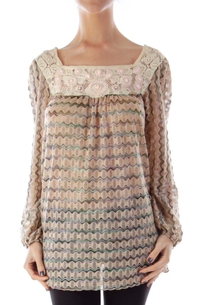 Beige Print Embroider Blouse