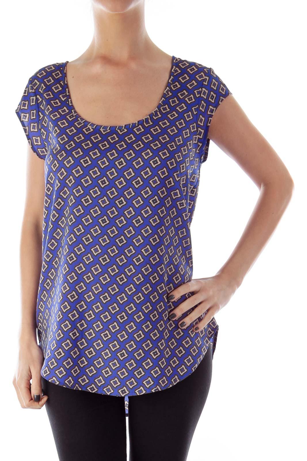 Blue & Beige Print Shirt
