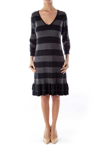Black & Gray Stripe Knit Dress