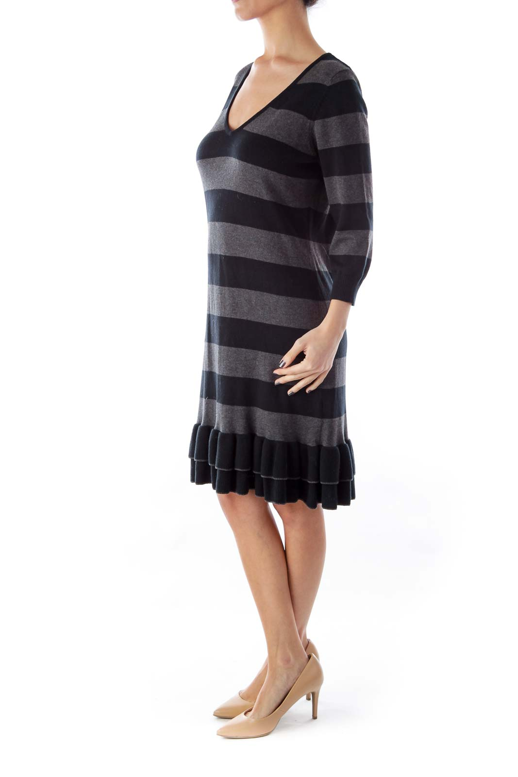 Black & Gray Stripe Knit Dress
