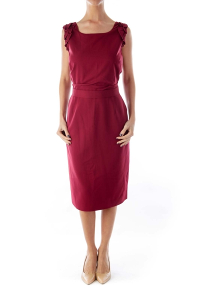 Burgundy Ruffle Shoulder Dress