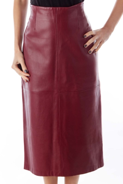 Burgundy Midi Leather Skirt