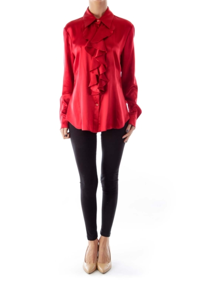 Red Ruffle Silk Blouse