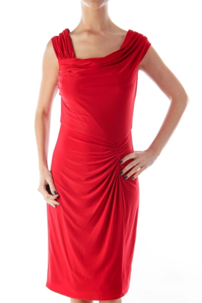 Red Side Draped Dress