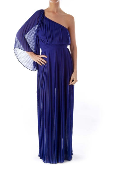 Blue Pleated One Shoulder Dress