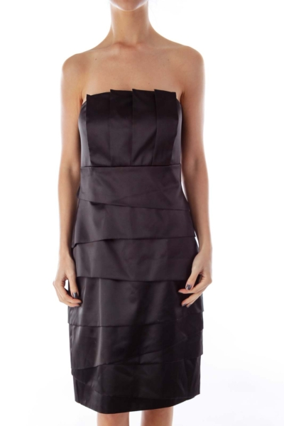 Black Layered Strapless Dress