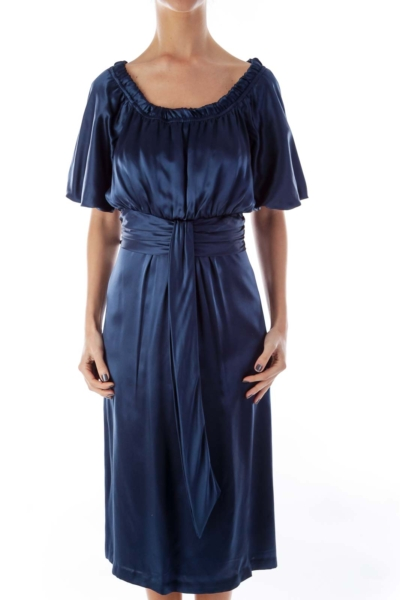 Blue Silk Empire Dress
