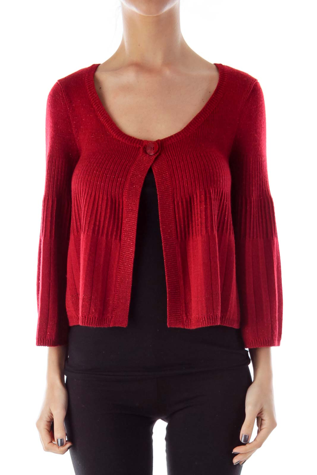 Red Metallic Crop Cardigan