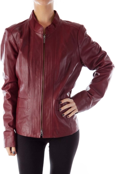 Burgundy Leather Pocket Jacket
