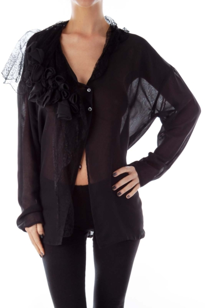 Black Lace Detail Open Shirt