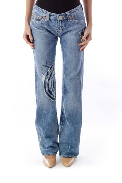 Light Blue Embroider Jeans