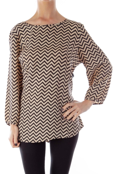 Beige & Black Chevron Blouse