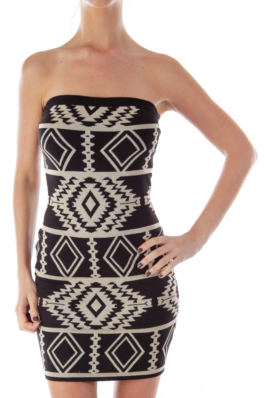 Black & Gold Lurex Strapless Dress