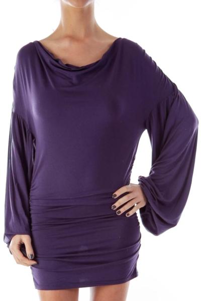 Purple Ruffle Side Dress