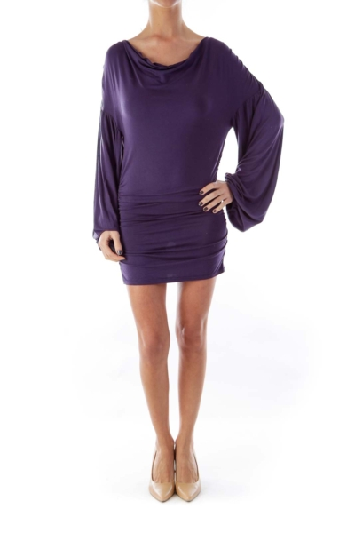 Purple Ruffle Side Dress
