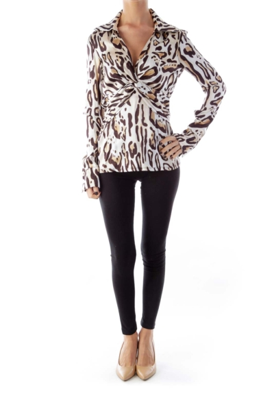 Animal Print Knot Blouse