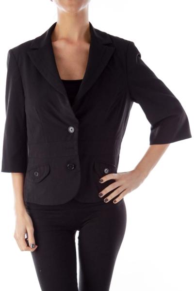 Black Crop Suit Jacket