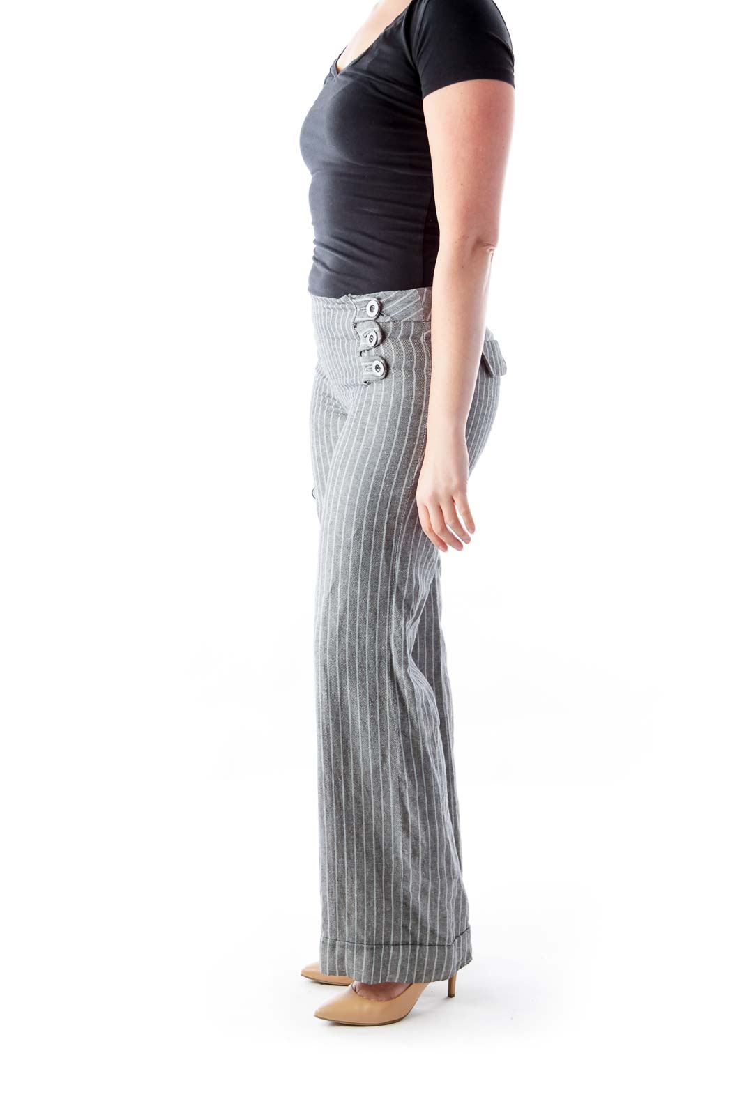 Gray Stripe Pantalone