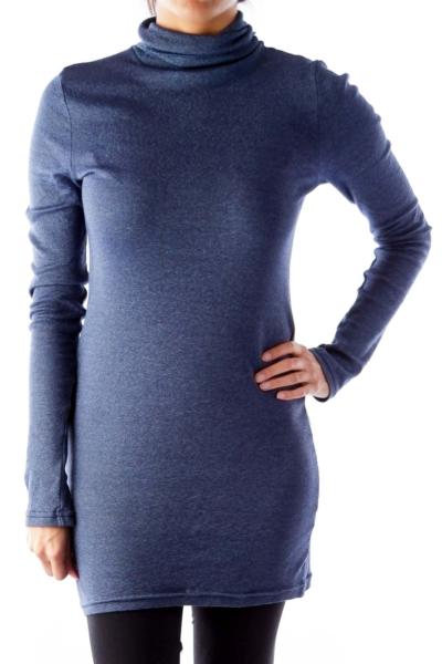 Blue Metallic Turtleneck Shirt