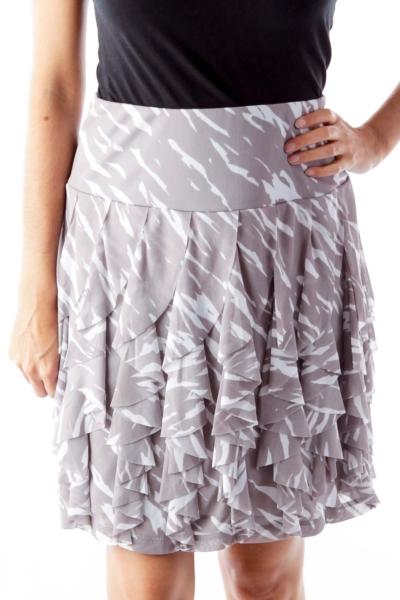 Gray Print Ruffle Skirt