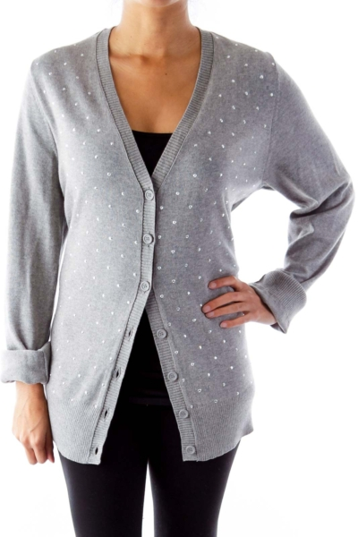 Gray Crystal Embellished Sweater