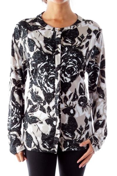 Black & Beige Print Blouse